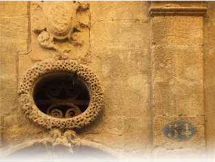 A detail of the architecture of a private mansion in Aix-en-Provence