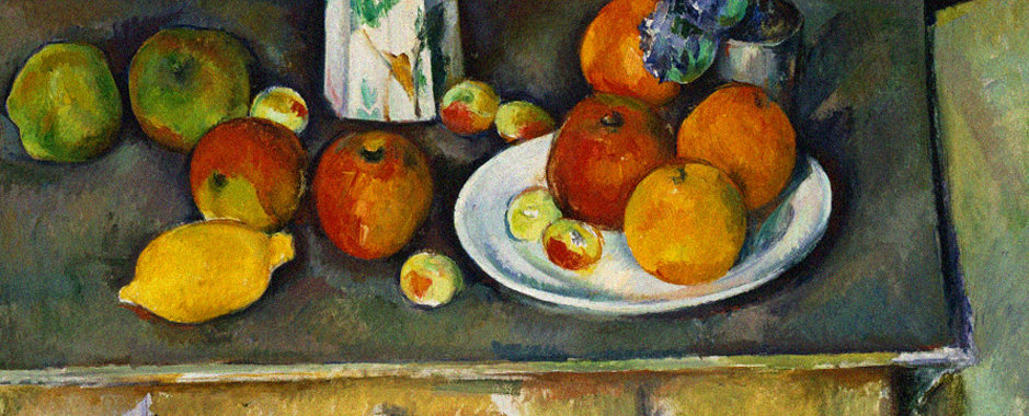 a zoom in on a painting in Cezanne's studio in Aix en Provence