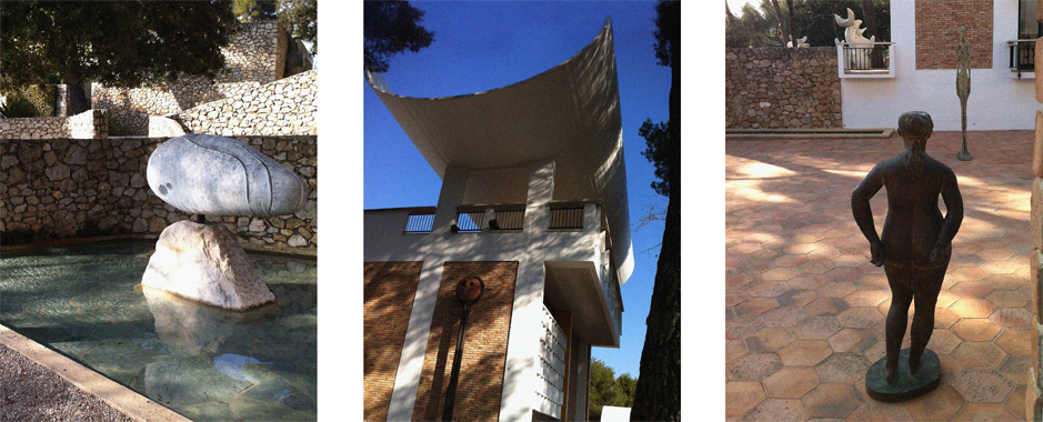 Photos of the works by Miro and Giacometti at Fondation Maeght in Saint-Paul de Vence
