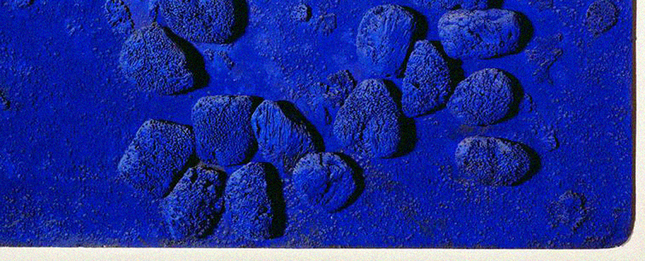 A detail of a famous Yves Klein's painting exhibited in MAMAC museum in Nice